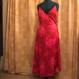 H&M red/pink floral wrap dress